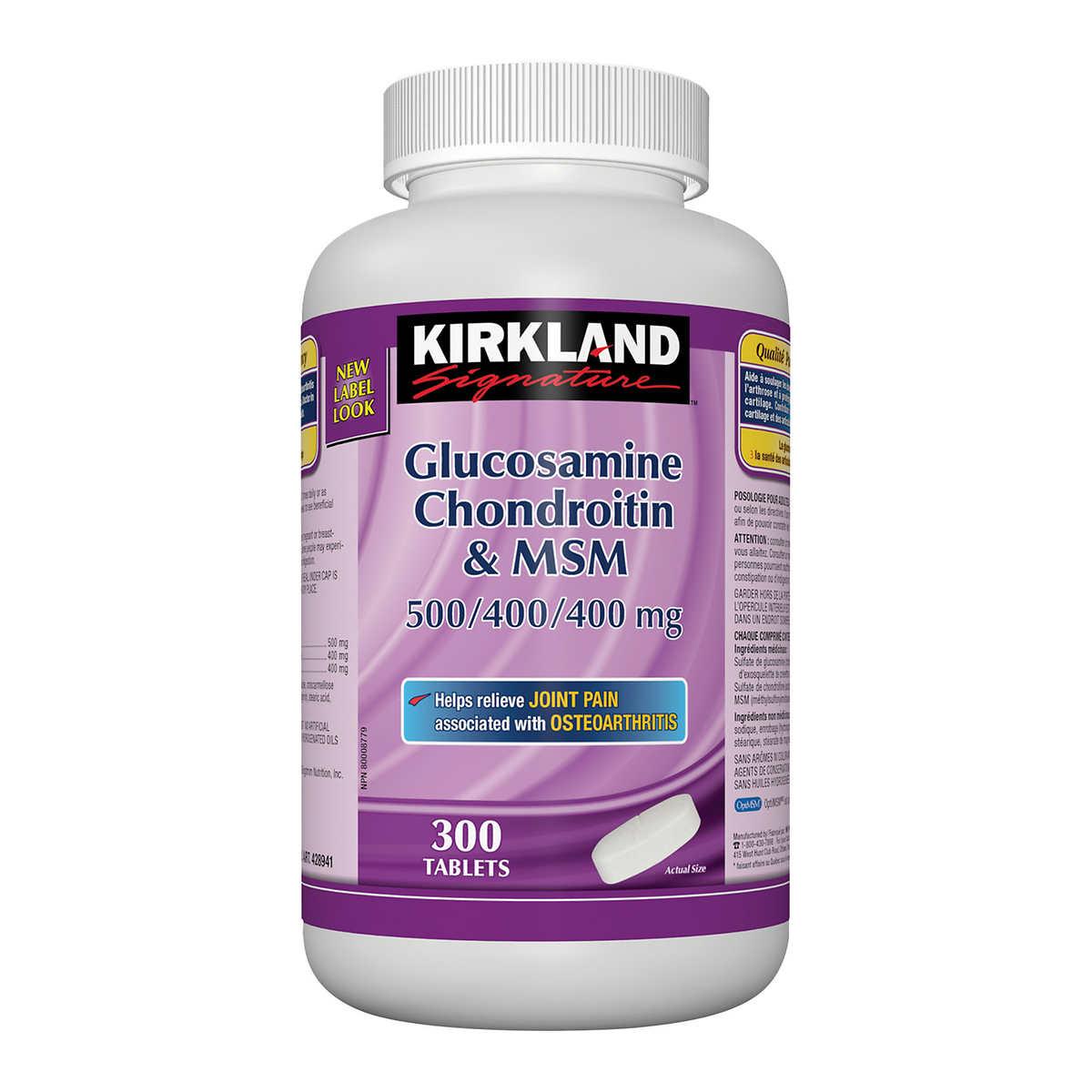 Kirkland Signature Glucosamine, Chondroitin and MSM -- 300 Tablets