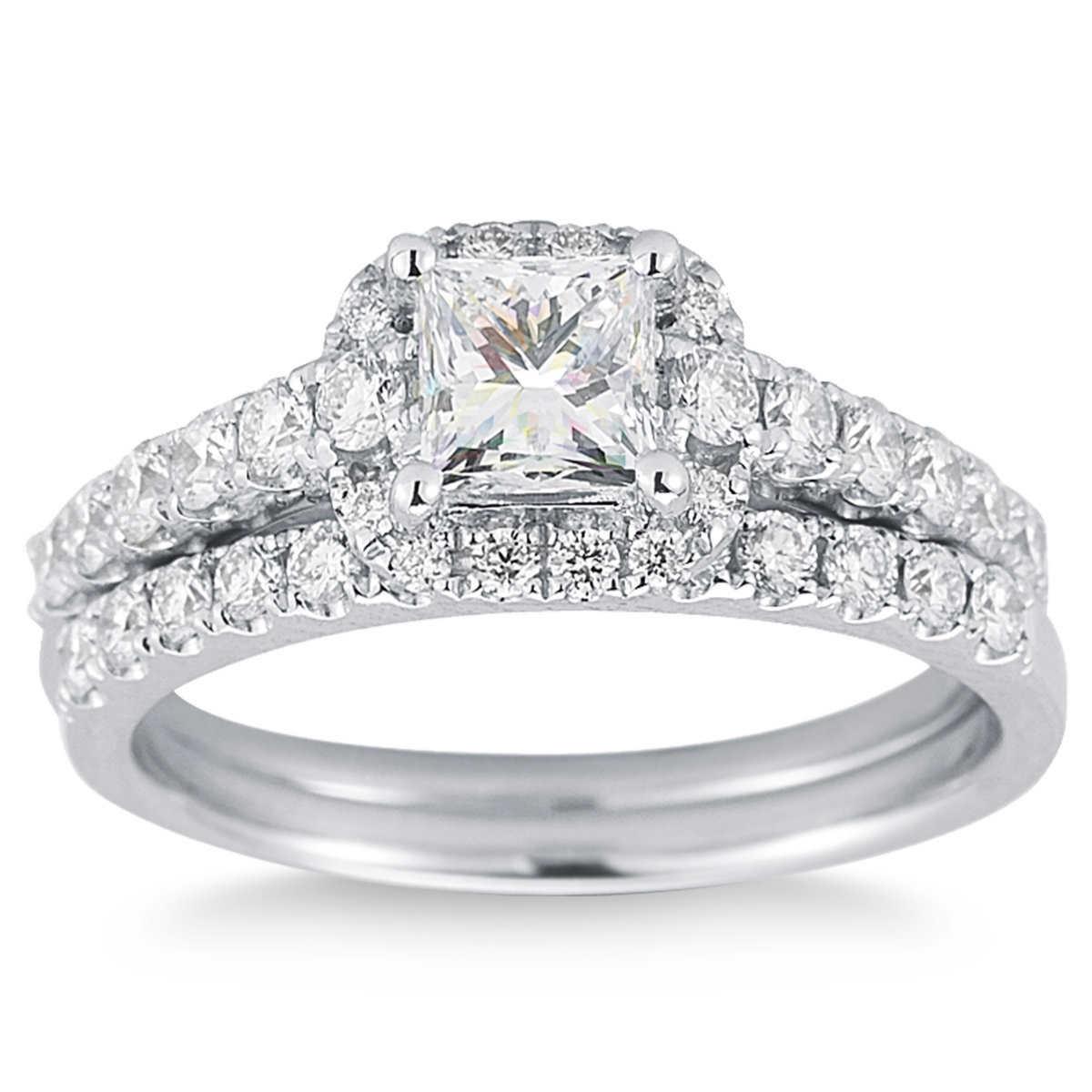 princess cut and round brilliant diamond wedding set 1 45 ctw