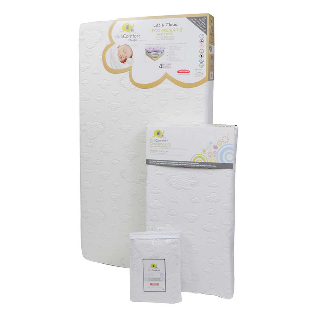 Little Cloud Mattress And Eucalyptus Cover Changing Pad