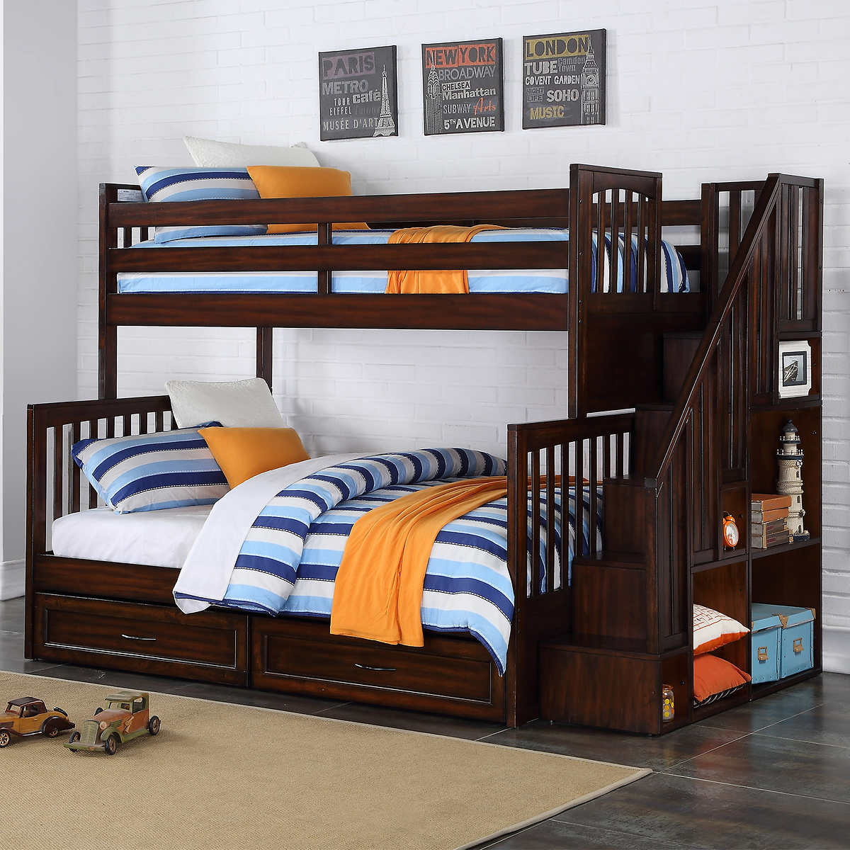 Bunk Bed Zachary Twin Over Double Bunk Bed With Universal Staircase