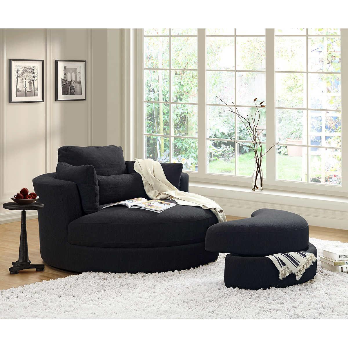 Furniture swivel and tub chairs dori fabric swivel cuddle chair - Turner Black Cuddler Swivel Chair With Storage Ottoman