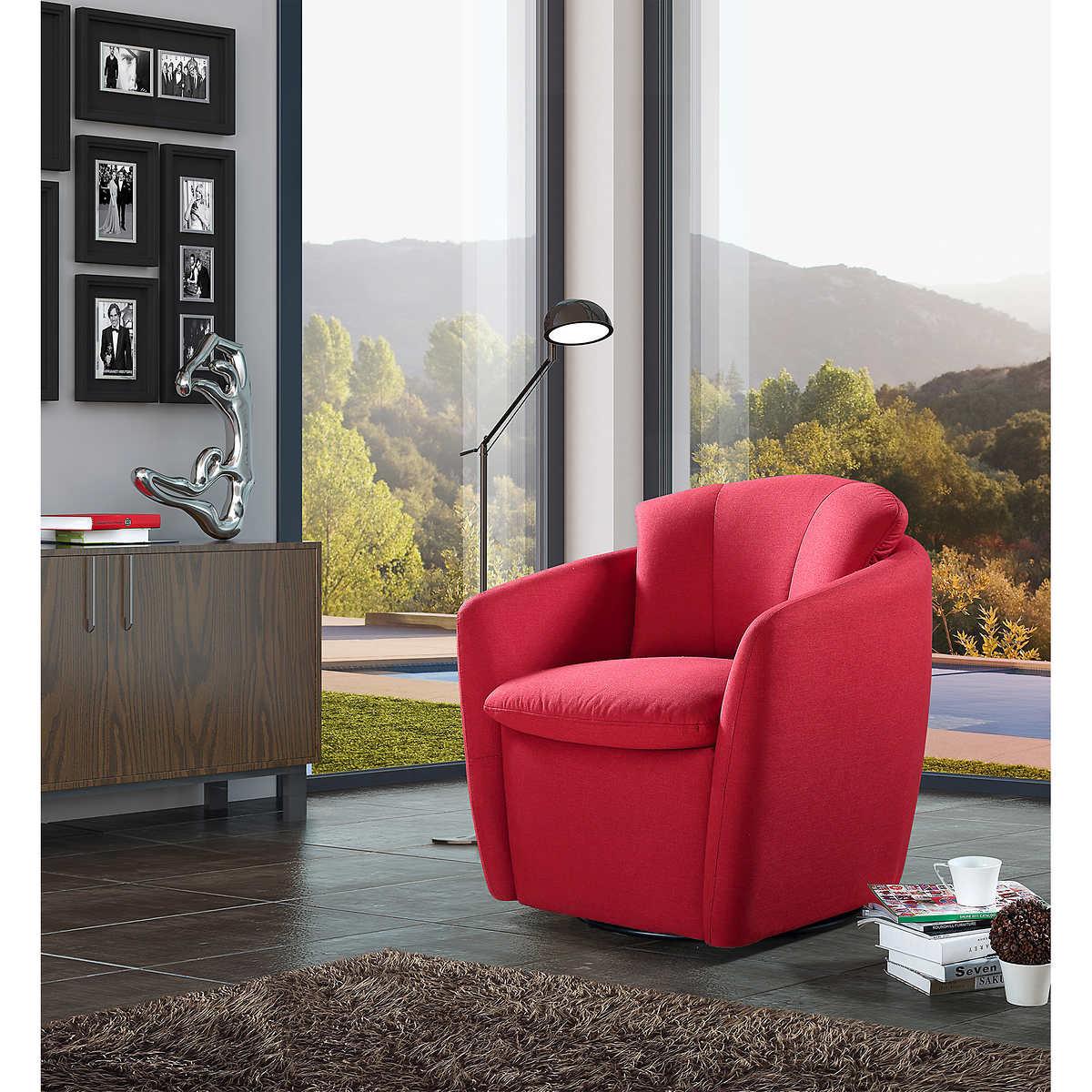 Furniture swivel and tub chairs dori fabric swivel cuddle chair - Amalfi Red Swivel Chair