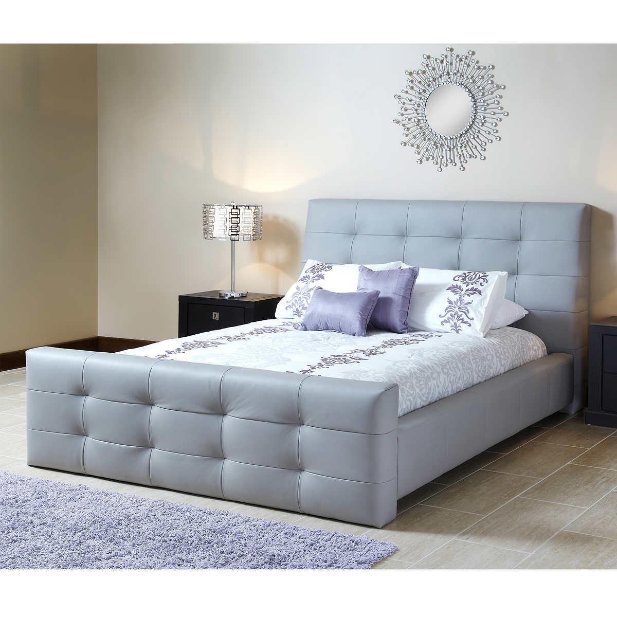 venice top grain leather queen bed -