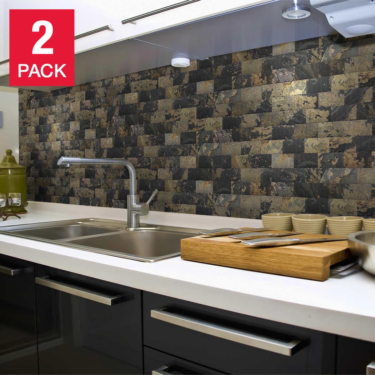 Peel N Stick Slate Veneer Wall Tiles 3 In X 6 In