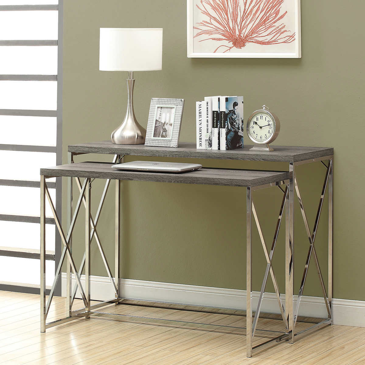 Argent dark taupe nesting console table set 1 1 geotapseo Image collections