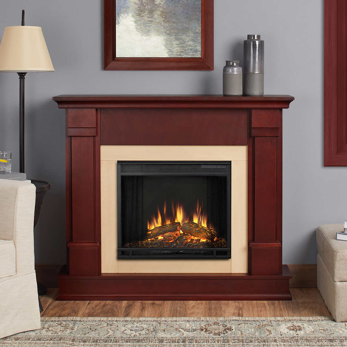 Astonishing Real Flame Silverton Dark Mahogany Mantel Electric Fireplace Home Remodeling Inspirations Genioncuboardxyz