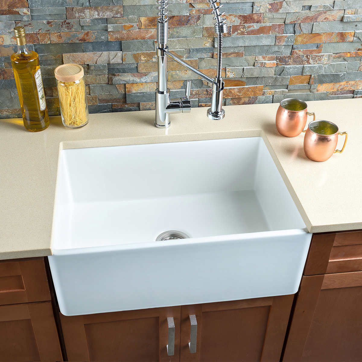 Blue apron costco - Hahn Fireclay Series Medium Single Farmhouse Kitchen Sink