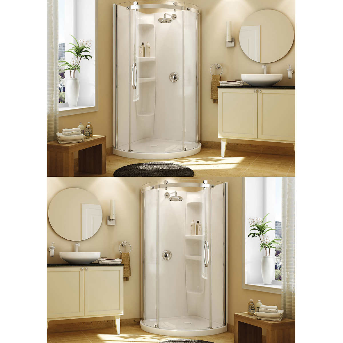 Bathroom corner shower - Maax Olympia Round Corner Shower Kits