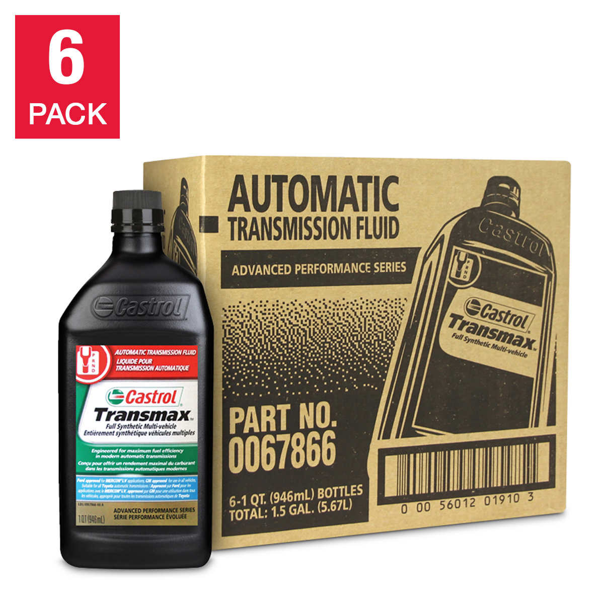 Castrol Transmax Full Synthetic Multi-vehicle Automatic Transmission Fluid  for Import and Domestic Vehicles 6 x 946 ml