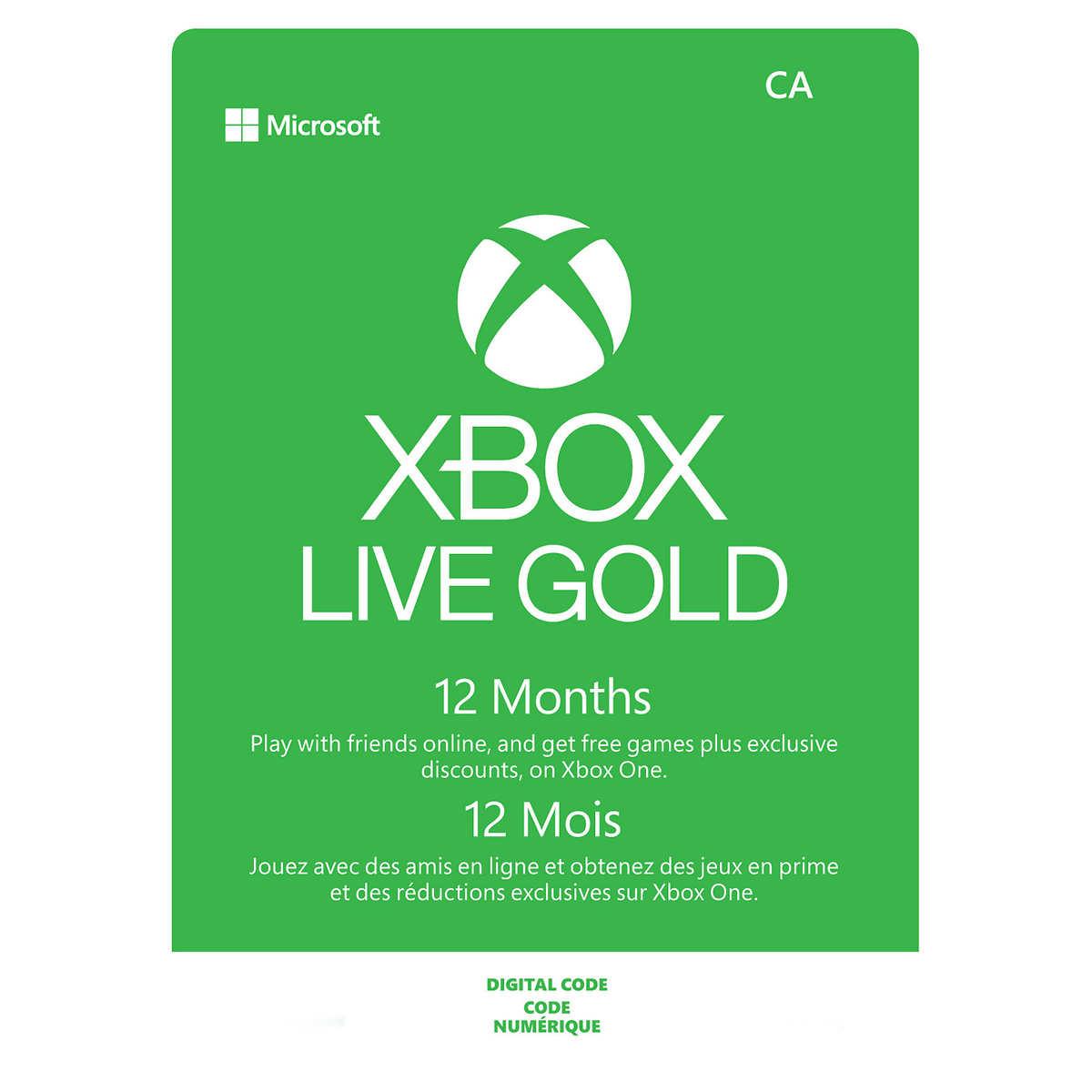 12 Month Xbox Live Gold Membership - Digital download