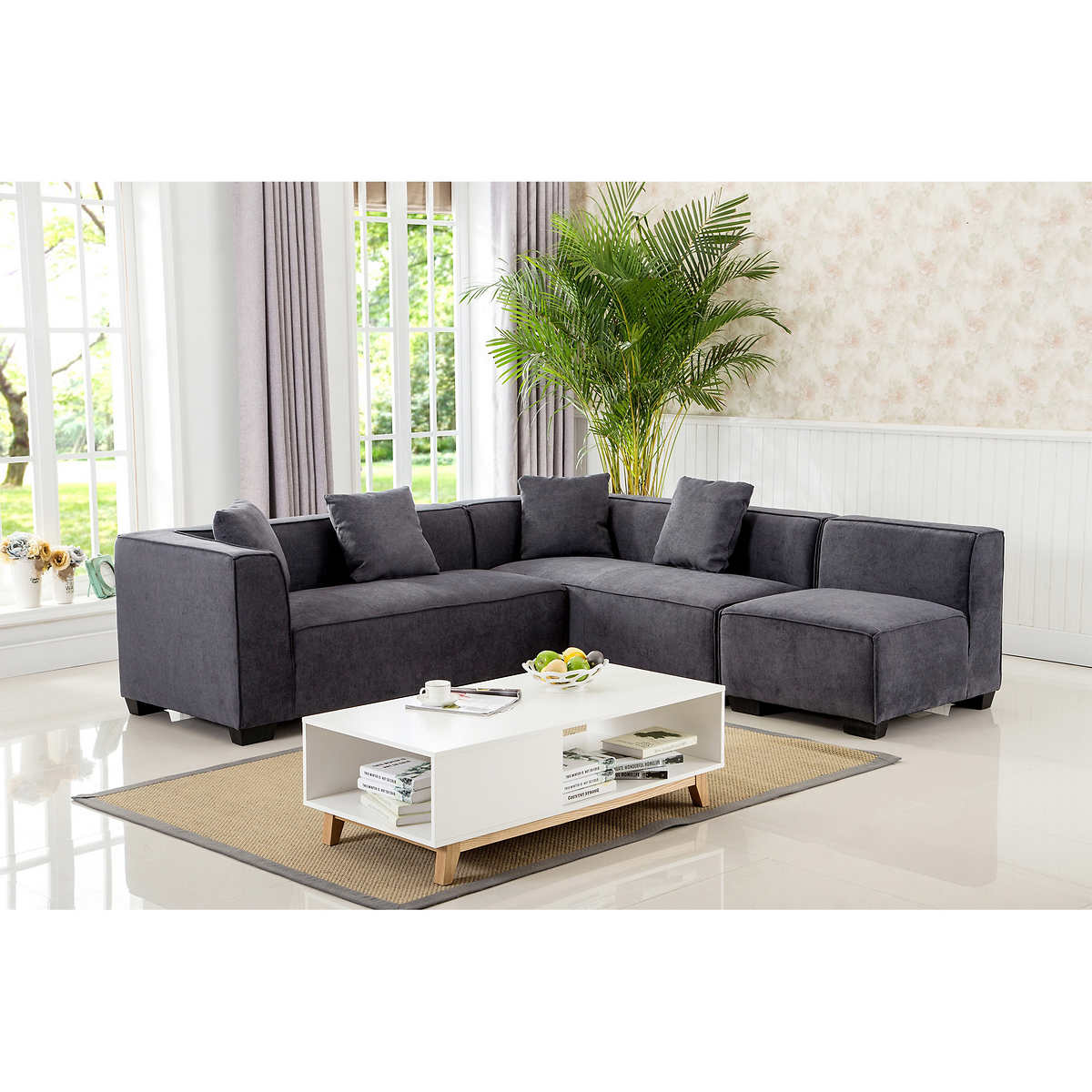 sectionals  chaises  costco - cobrizio dark grey modular sectional