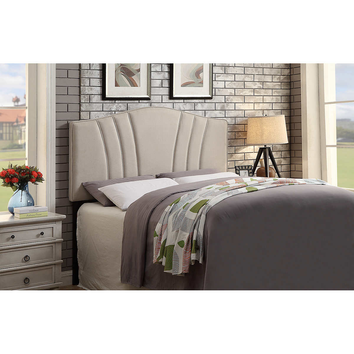 studio beige fabric headboard