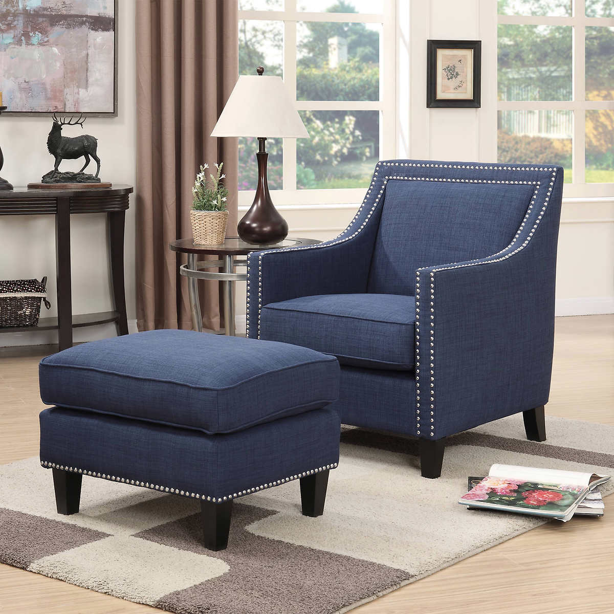 Blue and brown accent chair - Emery Navy Blue Accent Chair With Ottoman