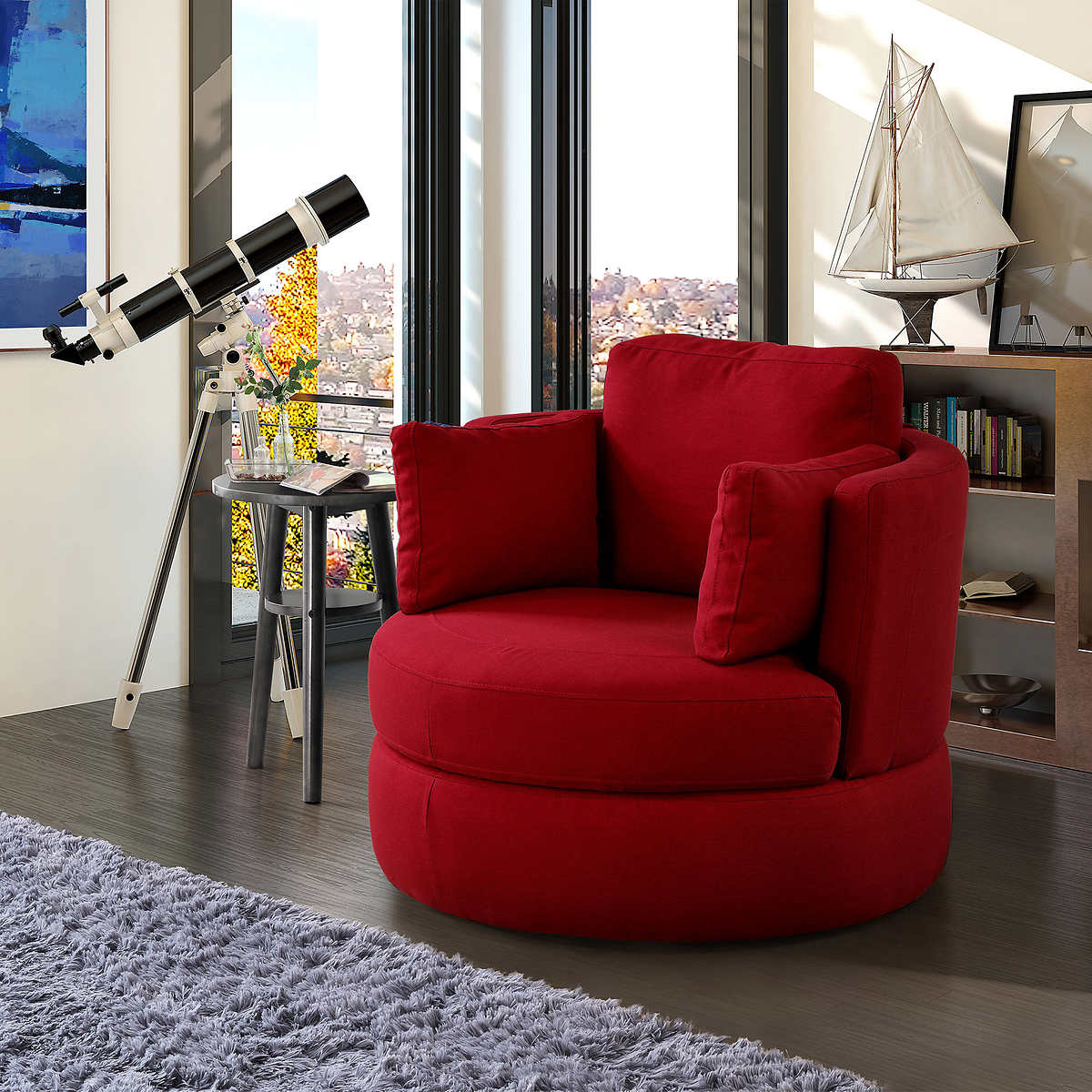 Benson Red Swivel Chair With Storage