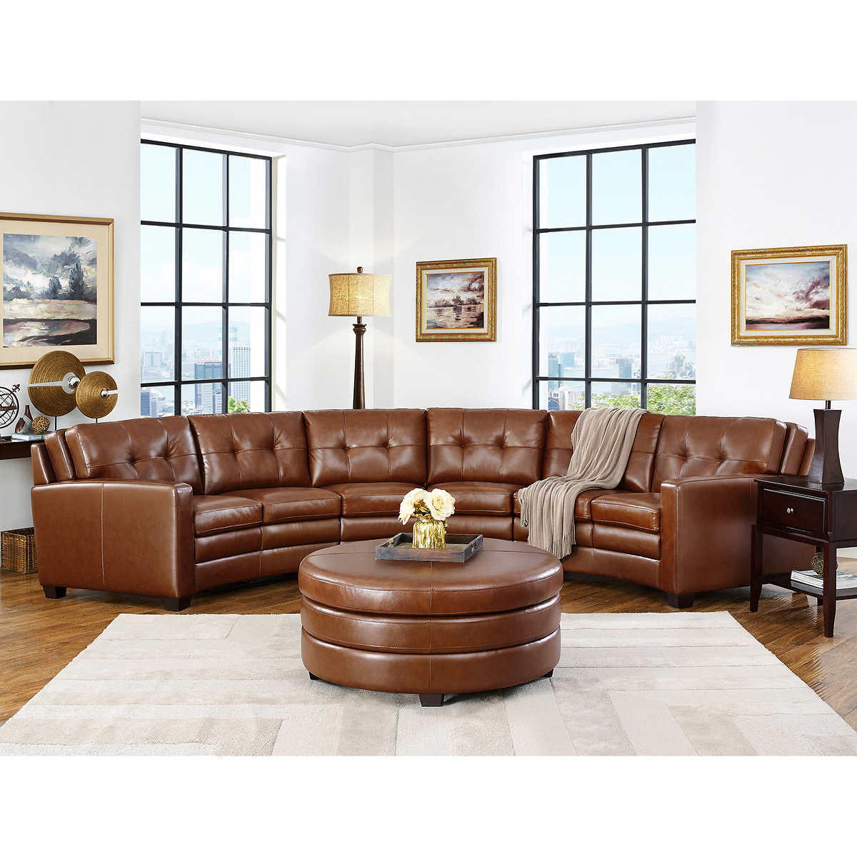 Suni 5 Piece Top Grain Leather Curved Living Room Sectional Set With Ottoman