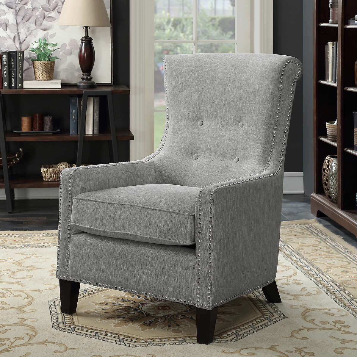grey accent chairs  costco - riker grey accent chair