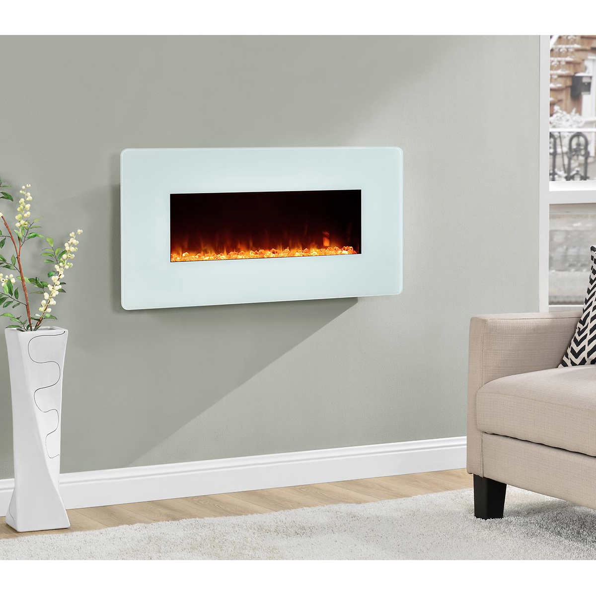 electric fireplaces  costco - white wallmount electric fireplace