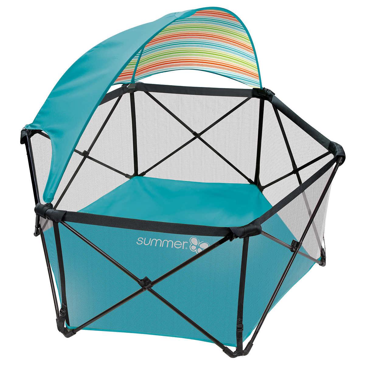 playards  costco - summer infant pop'n play ultimate playard with canopy aqua