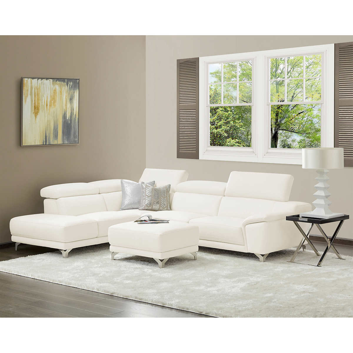 sectionals  chaises  costco - armano white left hand facing living room sectional with ottoman