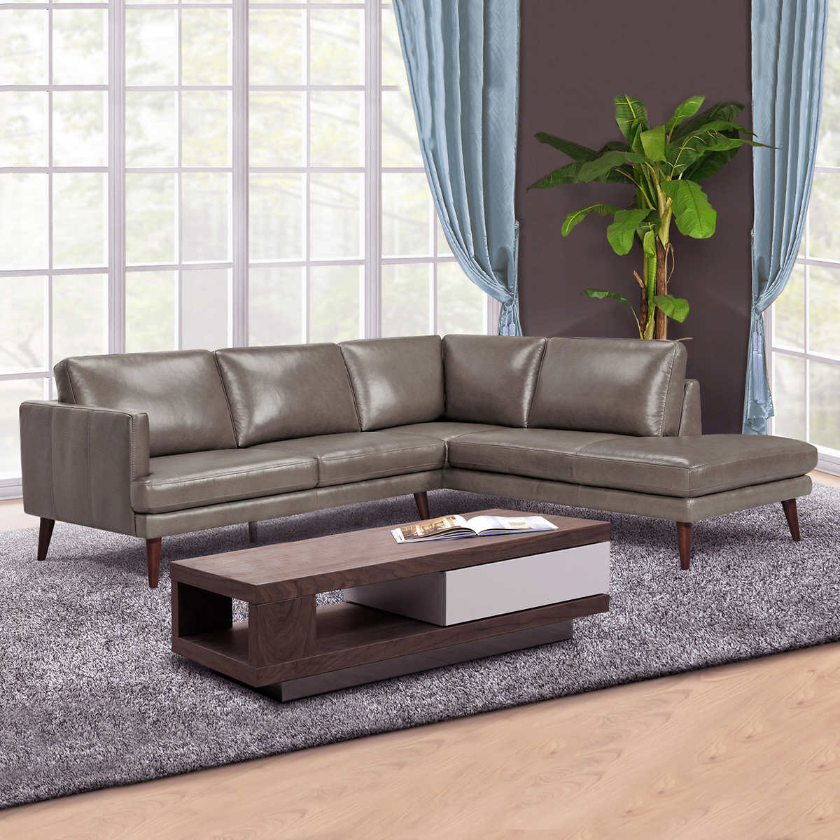 Leather Living Room Sectionals Raton Right Hand Facing Top Grain Leather Living Room Sectional