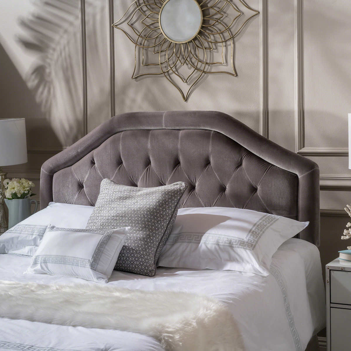 headboards  bed frames  costco - ava tufted headboard charcoal grey