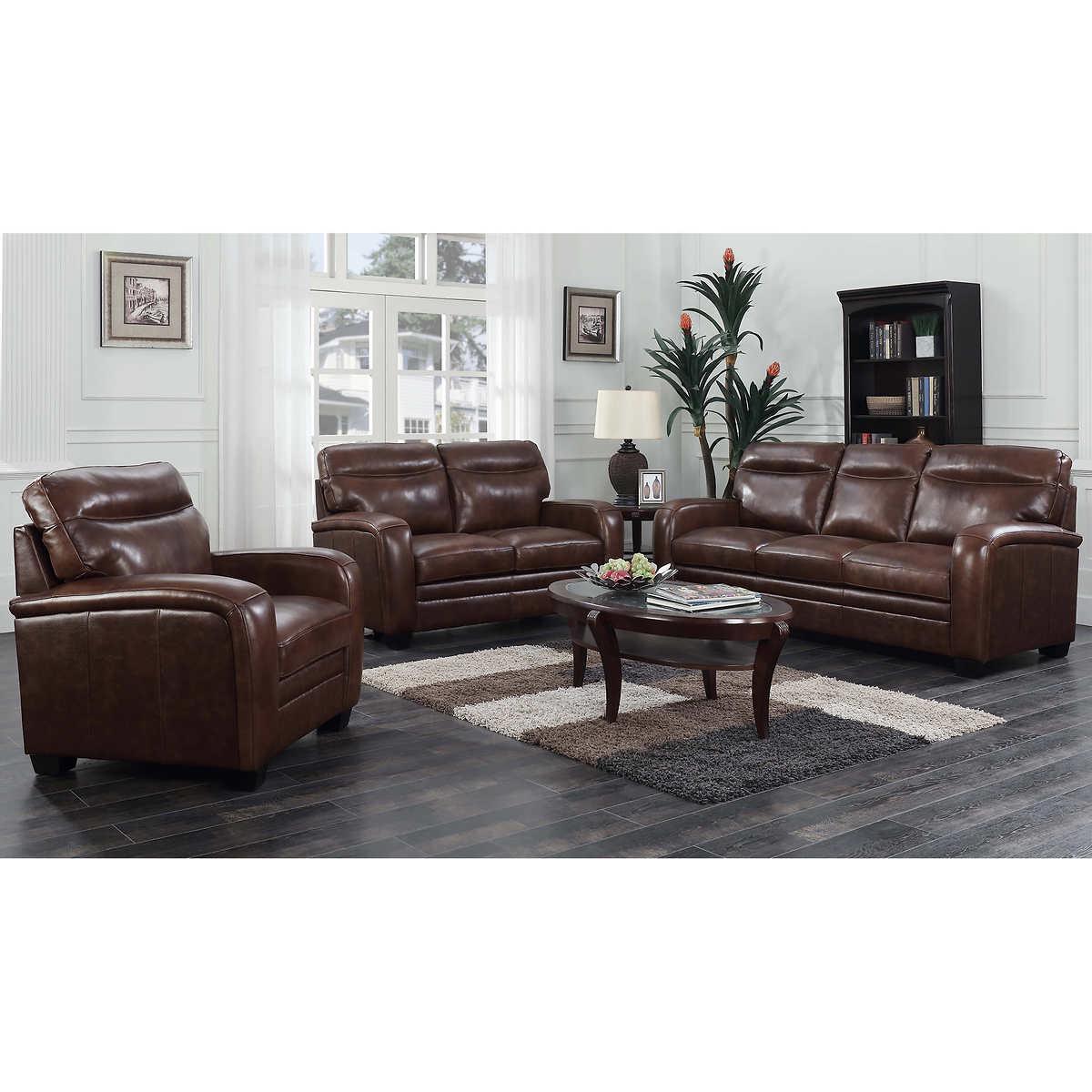 Montecello 3-piece Top Grain Leather Living Room Set
