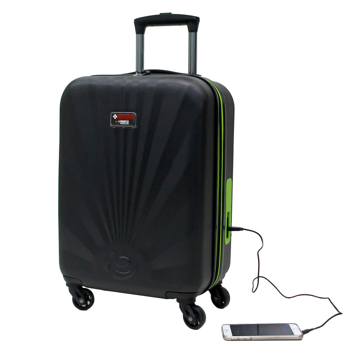 Carry on luggage with portable battery