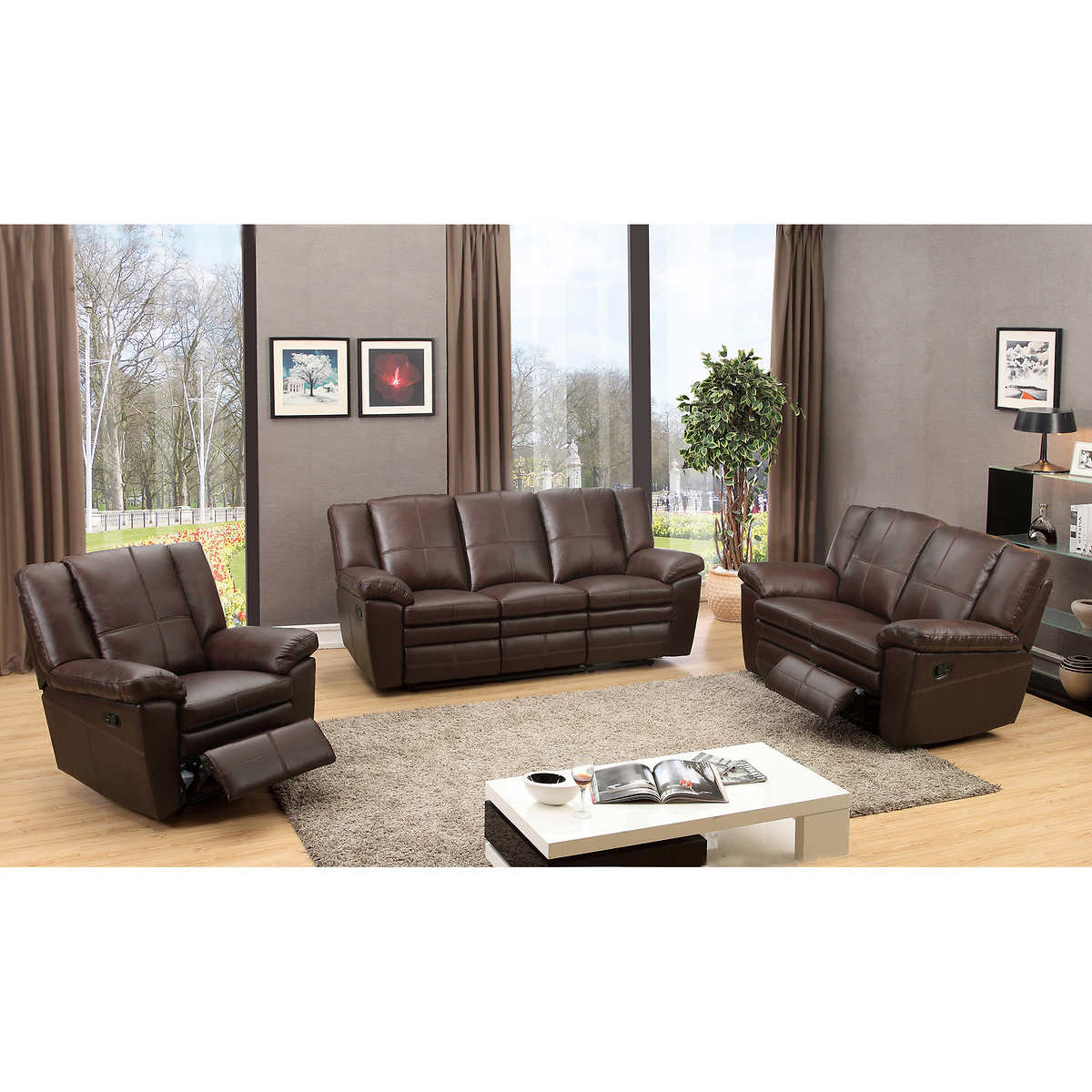 Leather Reclining Living Room Sets Lucca 3 Piece Top Grain Leather Manual Reclining Living Room Set