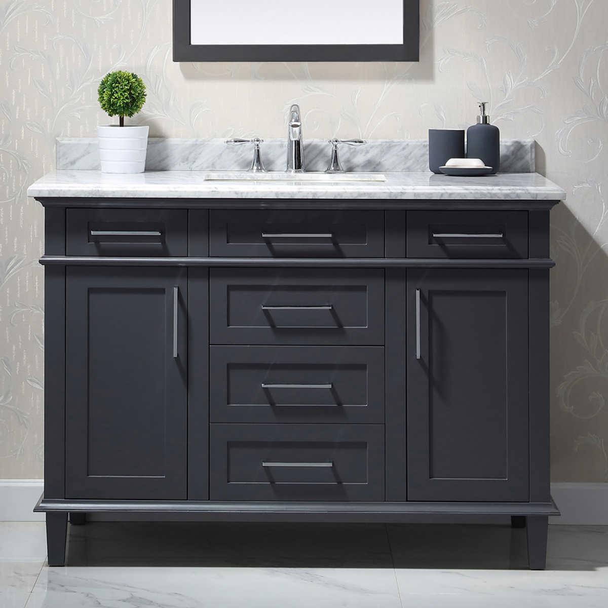 vanities  costco - bathroom vanity in dark grey with carrara marble counter top