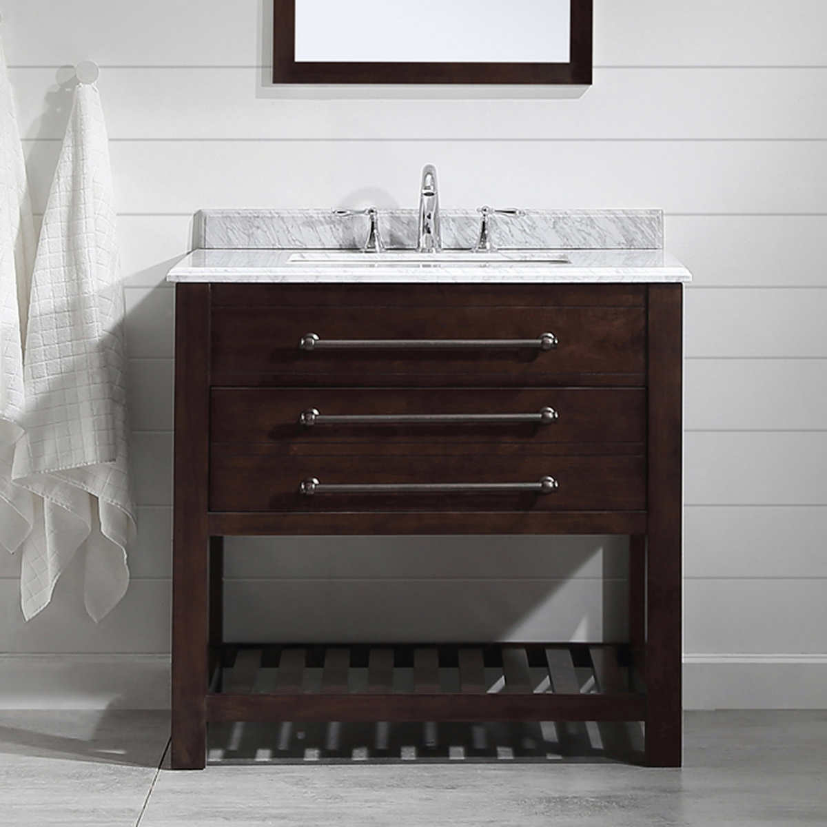 Floating bathroom vanity canada - Ove Harry 36 In Bathroom Vanity In Java Brown With Carrara Marble Countertop