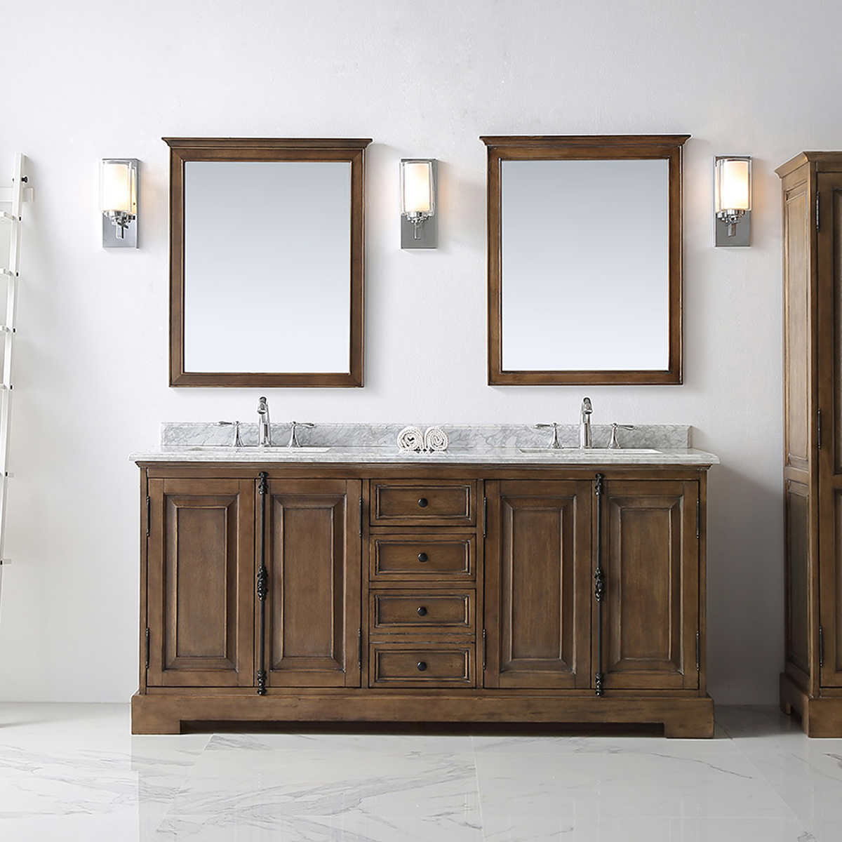 Bathroom cabinets ottawa - Ove Clinton 72 In Double Bathroom Vanity In Almond Stain With Carrara Marble Countertop
