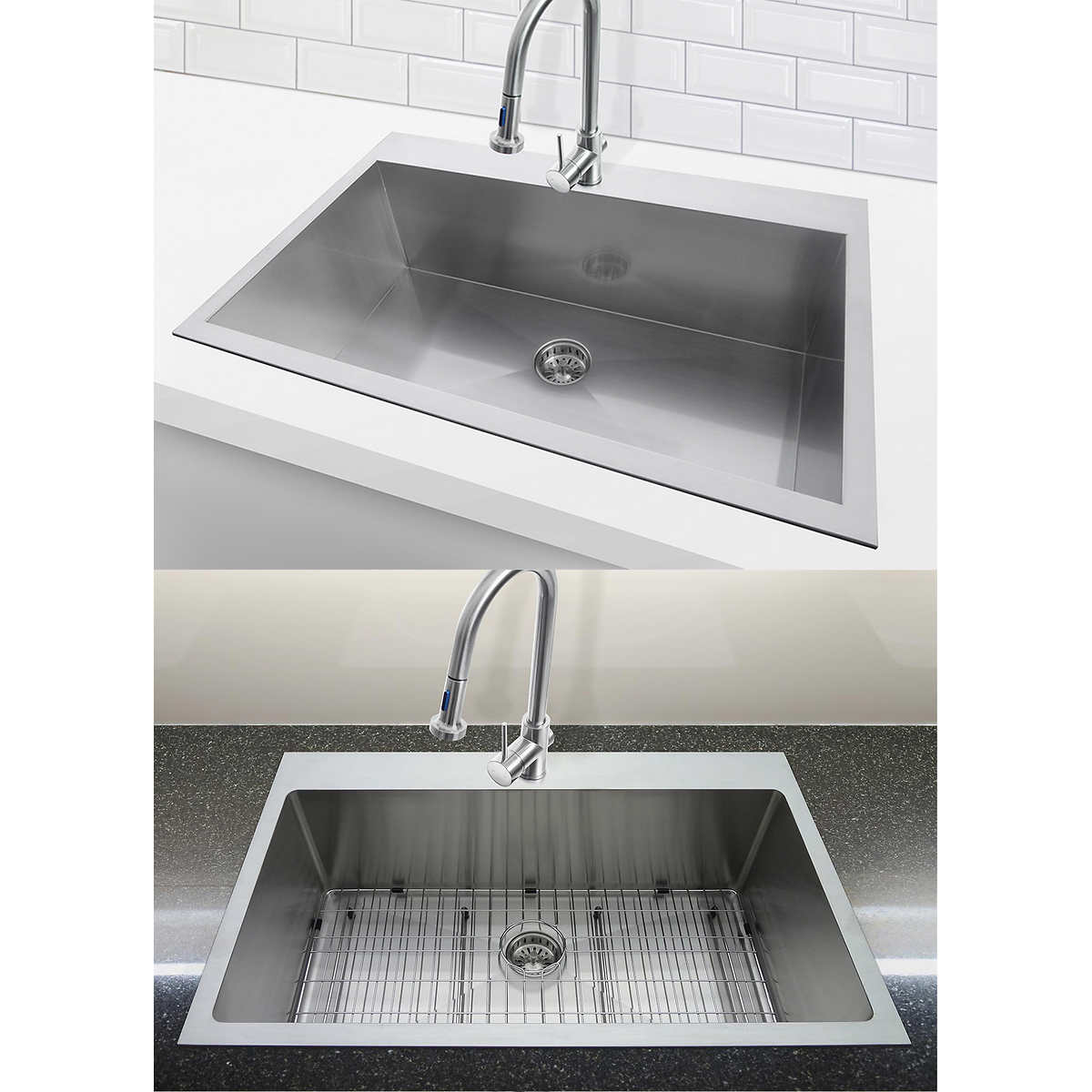 kitchen with main express xl bowl drainer worktop overmounted overmouted reversible white ceramic reginox sinks sink