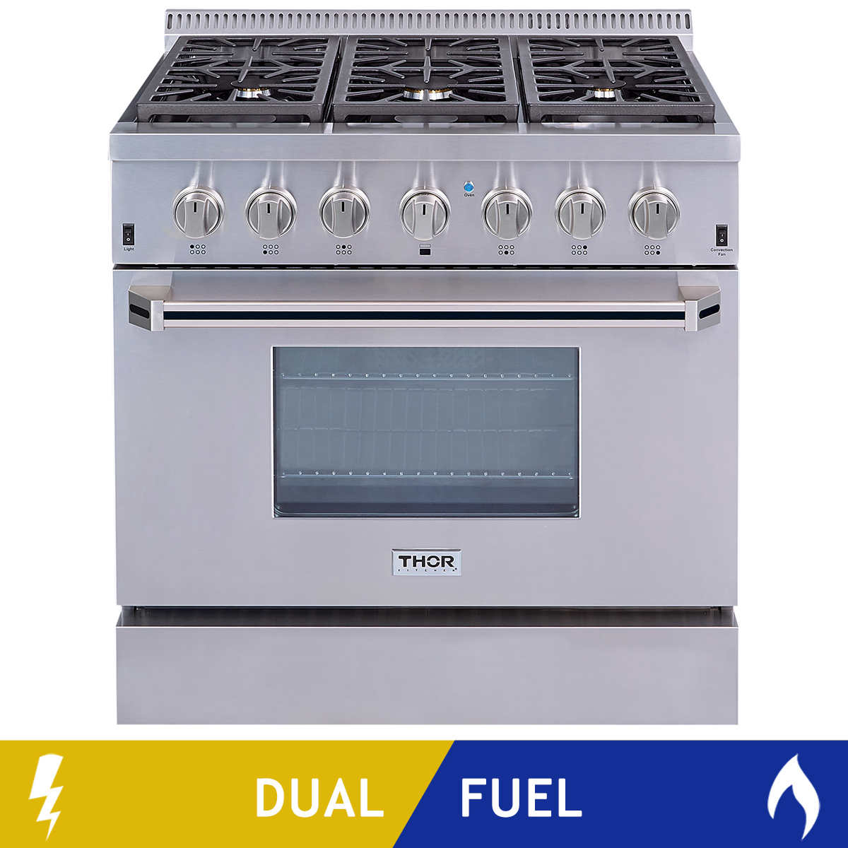 Thor Kitchen 36 in  Dual Fuel Range with 6 Burners