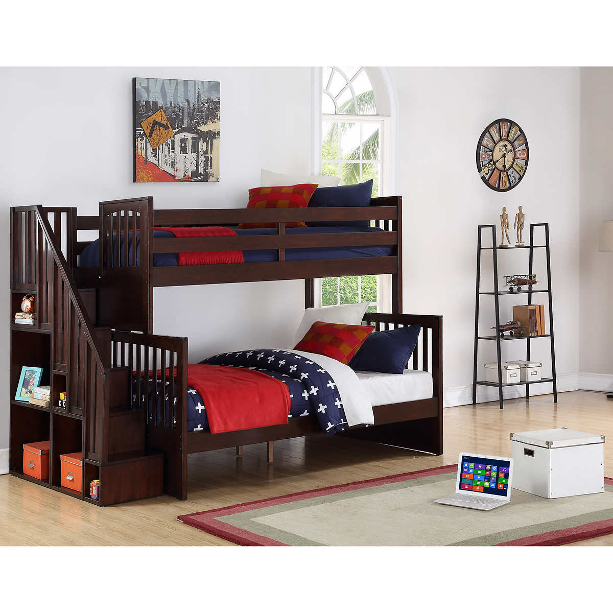 Noah Twin Over Double Bunk Bed With Universal Staircase