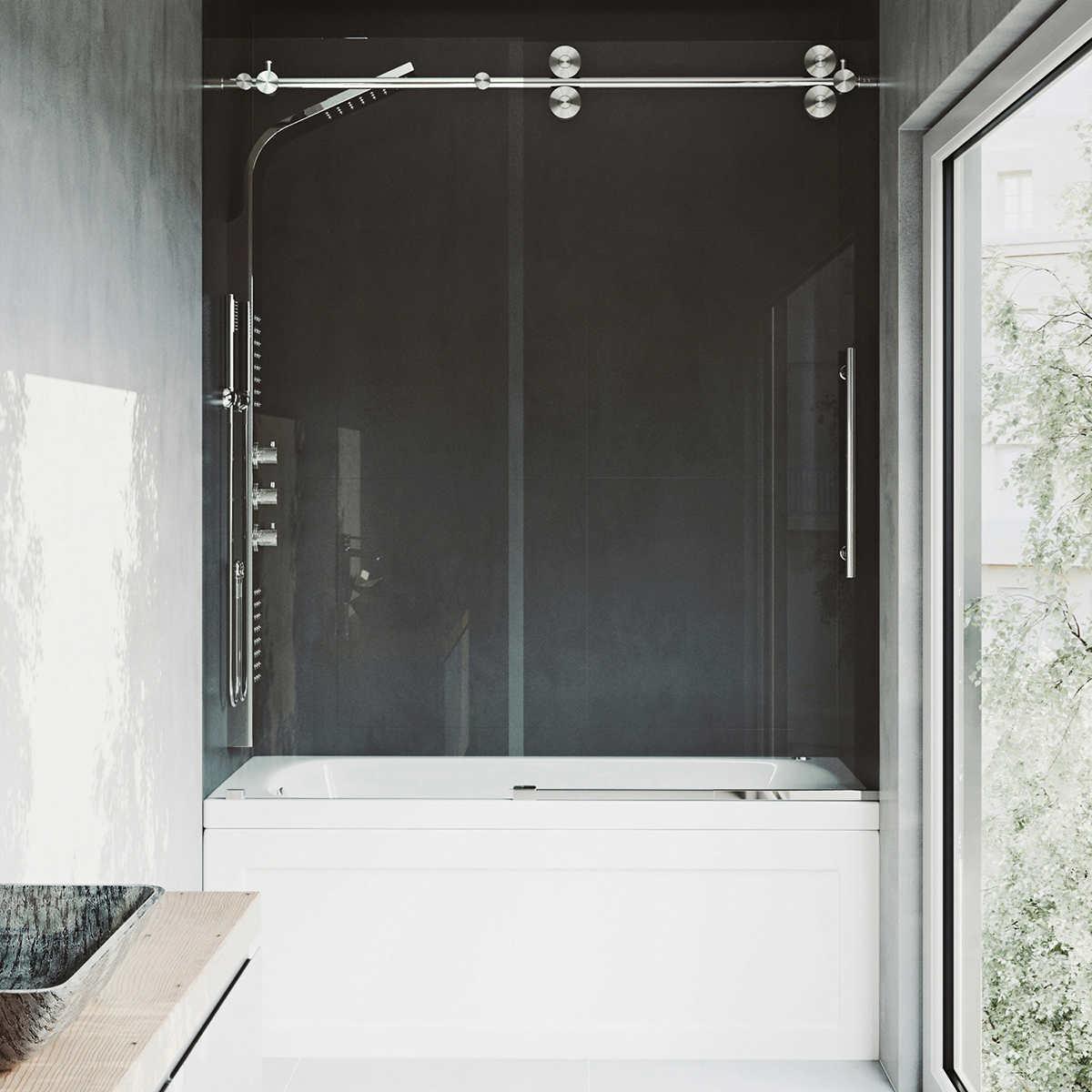 VIGO Elan 72-in. Chrome Frameless Shower Door
