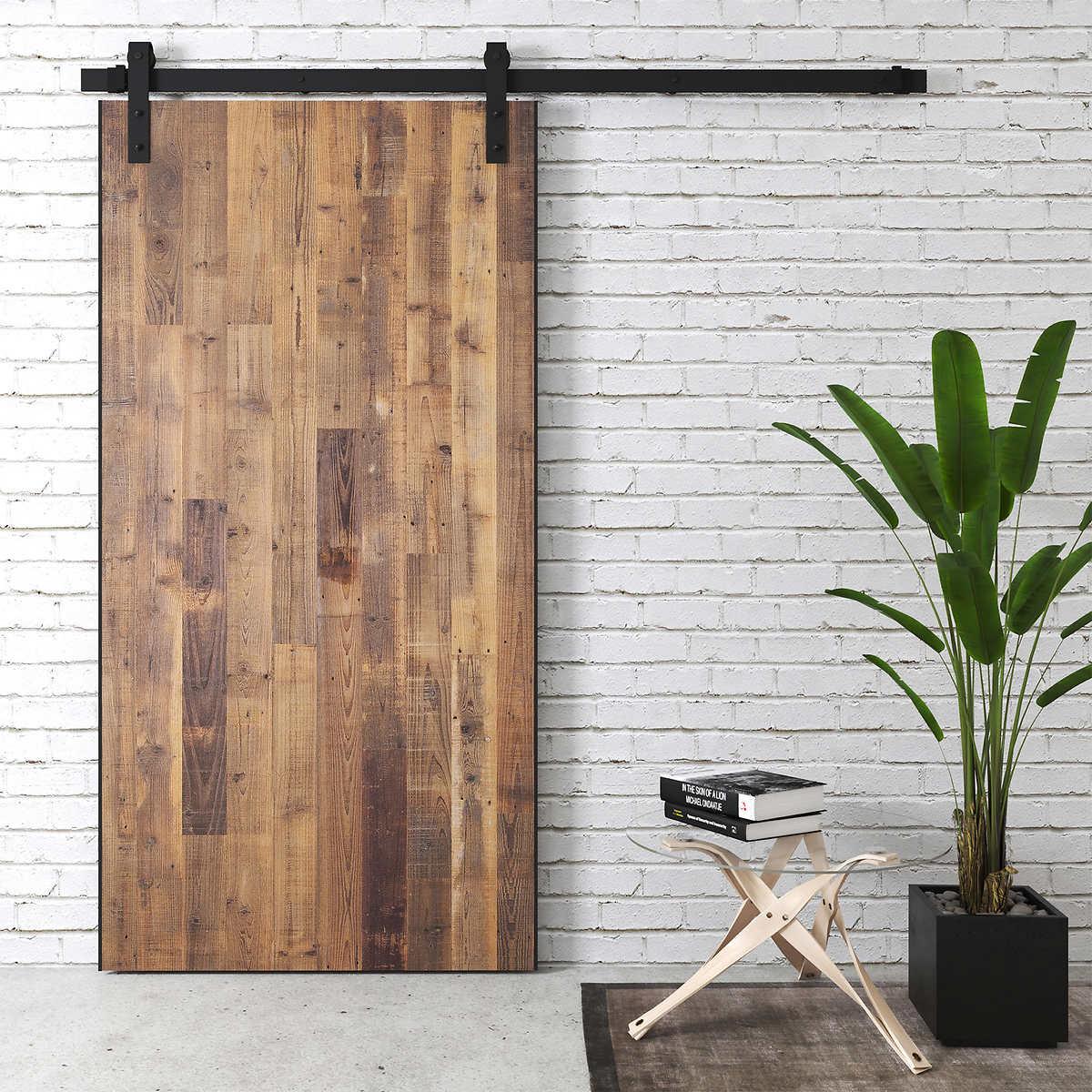 Opus 40 in. Solid Core Reclaimed Wood Barn Door
