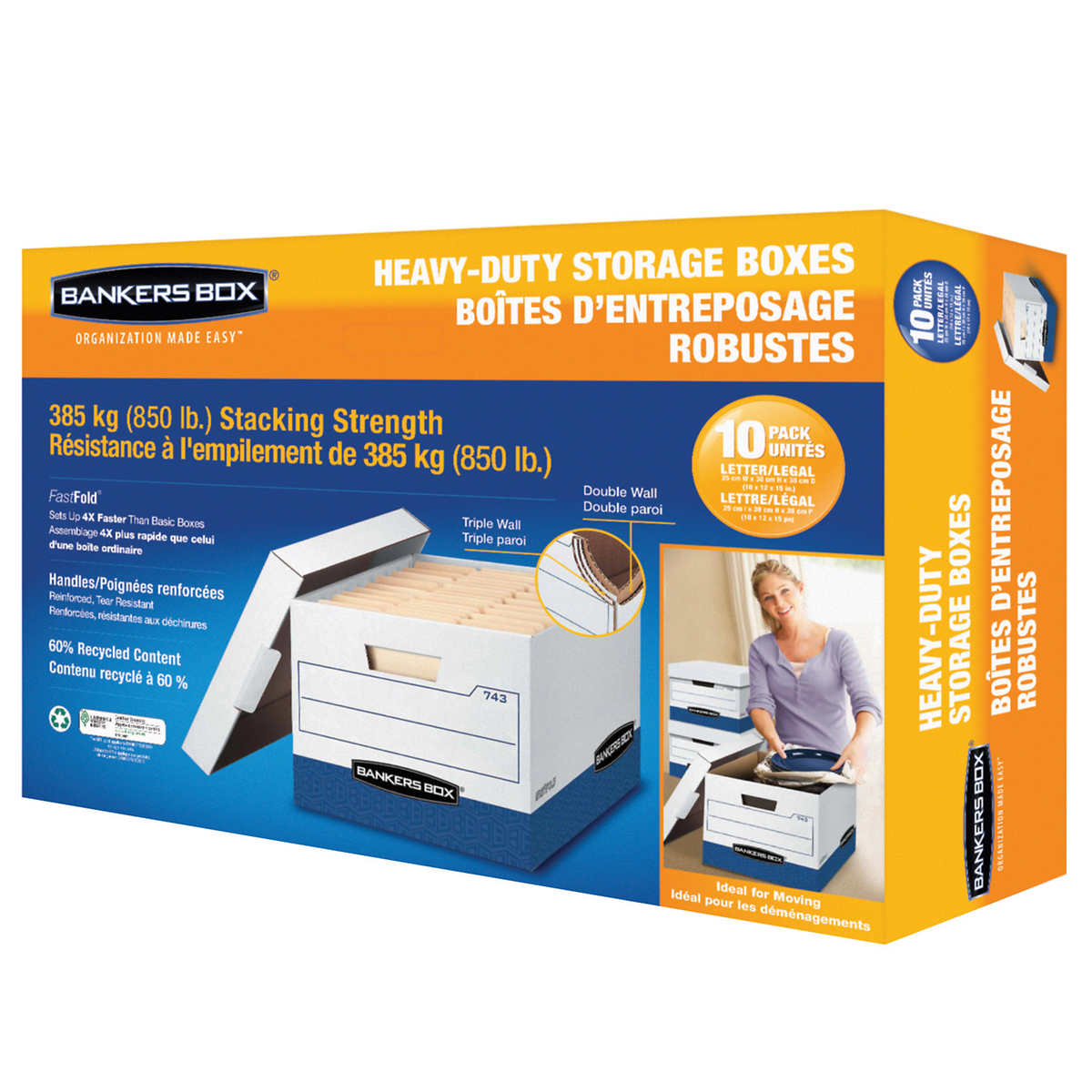 Fellowes Bankers Box 10-pack Heavy-duty Letter/Legal Records Storage Boxes