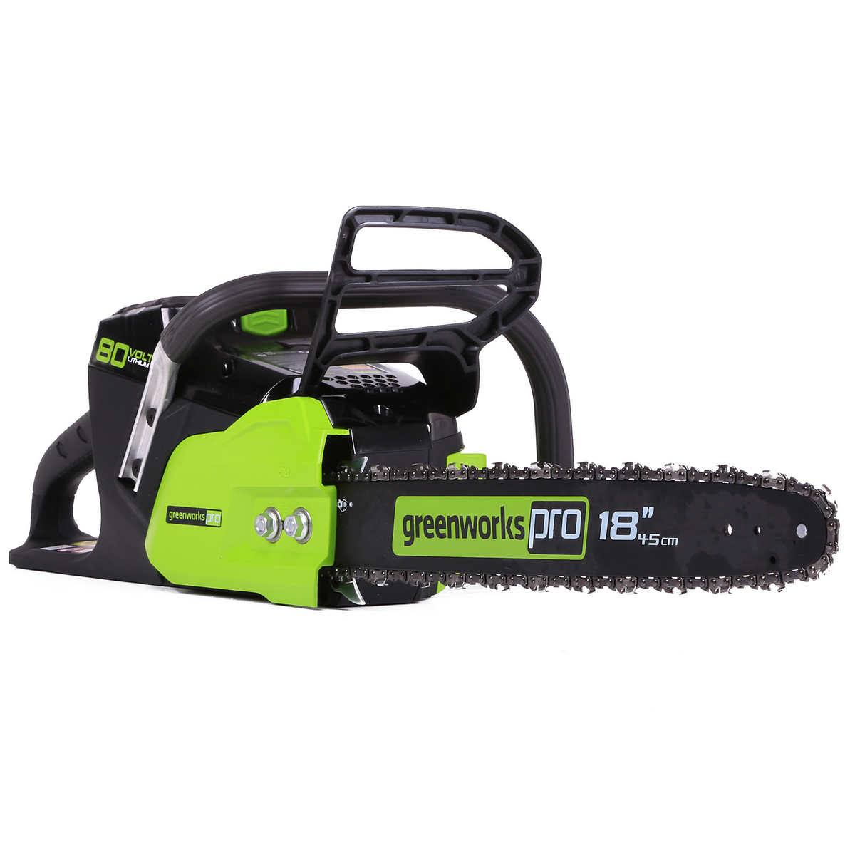 greenworks pro 80 v 45.7 cm (18 in.) cordless chainsaw, bare tool only