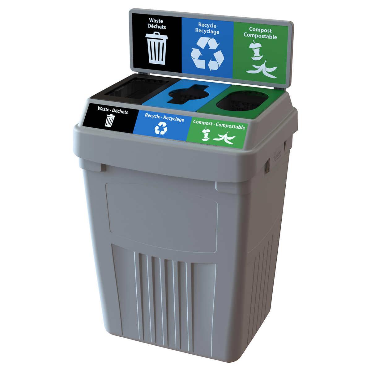CleanRiver Flex E 3-in-1 Waste and Recycling Bin, 189 L (50 gal )