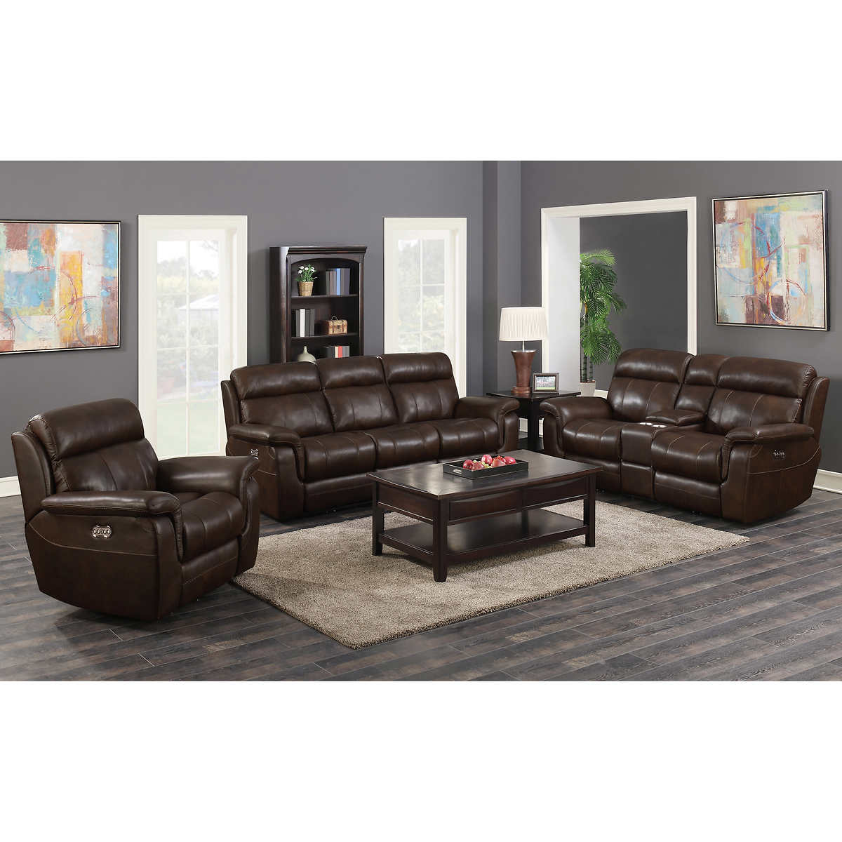 Top grain leather power reclining living room set 1 1