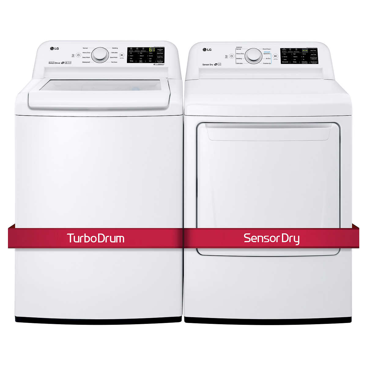LG 2-piece Laundry Suite 5 2 cu ft Top Load Washer with 6Motion™ Technology  and 7 3 cu ft Dryer with Smart Diagnosis™