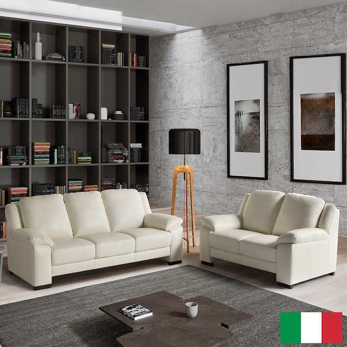 Morandi Top Grain Leather Sofa and Loveseat