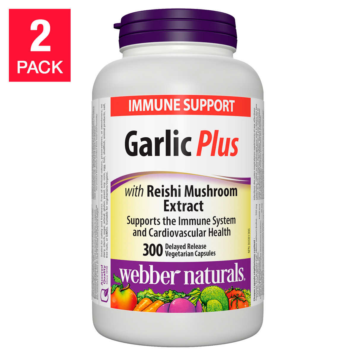 Webber Naturals - Garlic Plus with Reishi Mushroom Extract - 2 x 300  capsules