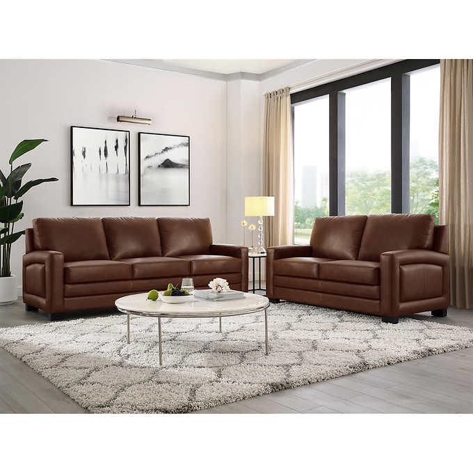 Brilliant Talia Top Grain Leather Sofa And Loveseat Home Remodeling Inspirations Gresiscottssportslandcom