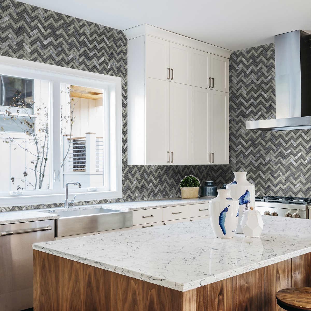 Golden Select Herringbone Gl And Marble Mosaic Wall Tile