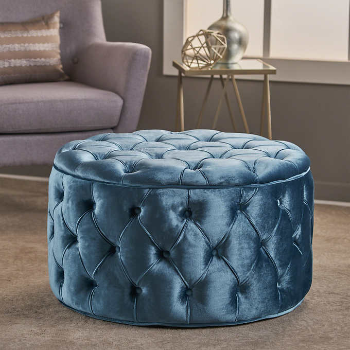 Tremendous Hannah Tufted Round Ottoman Bralicious Painted Fabric Chair Ideas Braliciousco