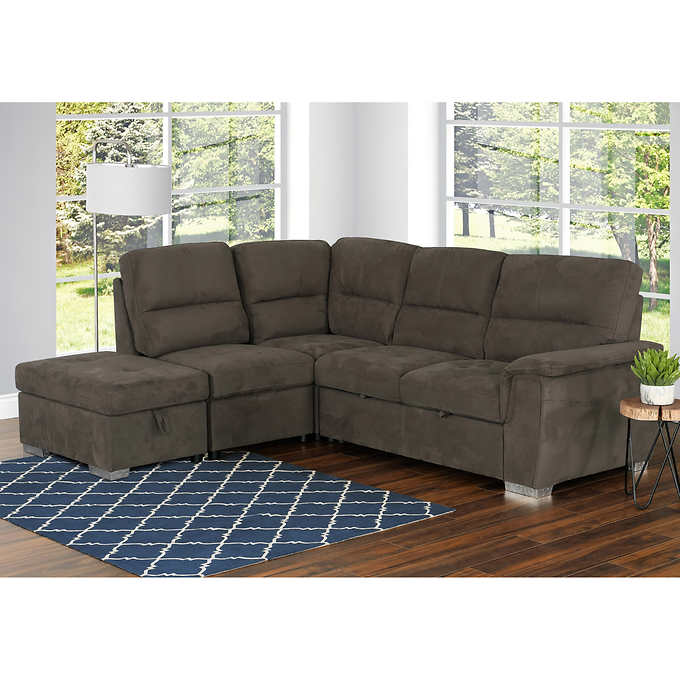 Surprising Callum Left Hand Facing Sectional With Pull Up Sofa Bed And Storage Ottoman Ocoug Best Dining Table And Chair Ideas Images Ocougorg