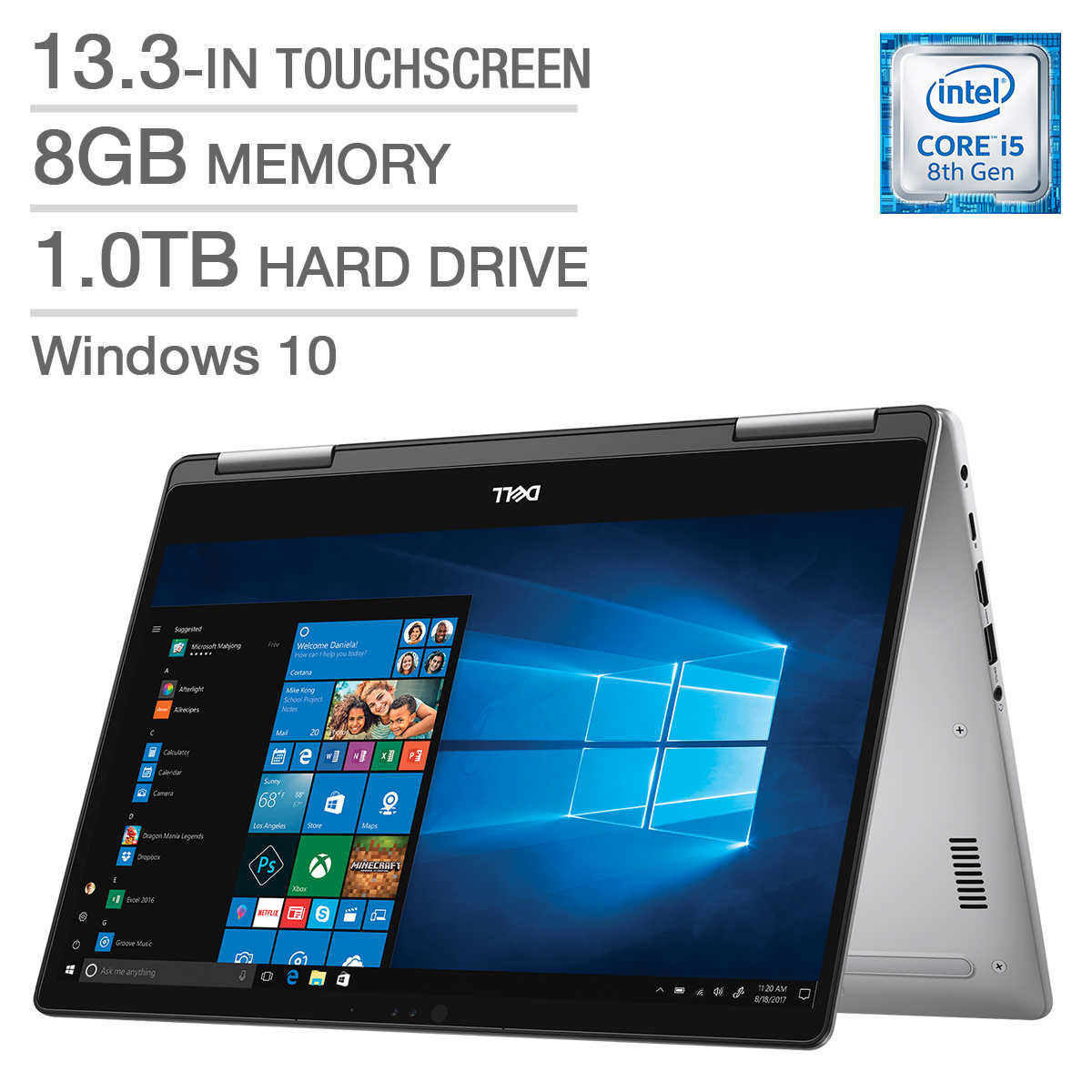 Dell Inspiron 13 5000 2-in-1 Laptop, i5-8250U