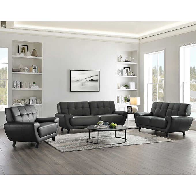 Prime Kiera 3 Piece Top Grain Leather Living Room Set Machost Co Dining Chair Design Ideas Machostcouk