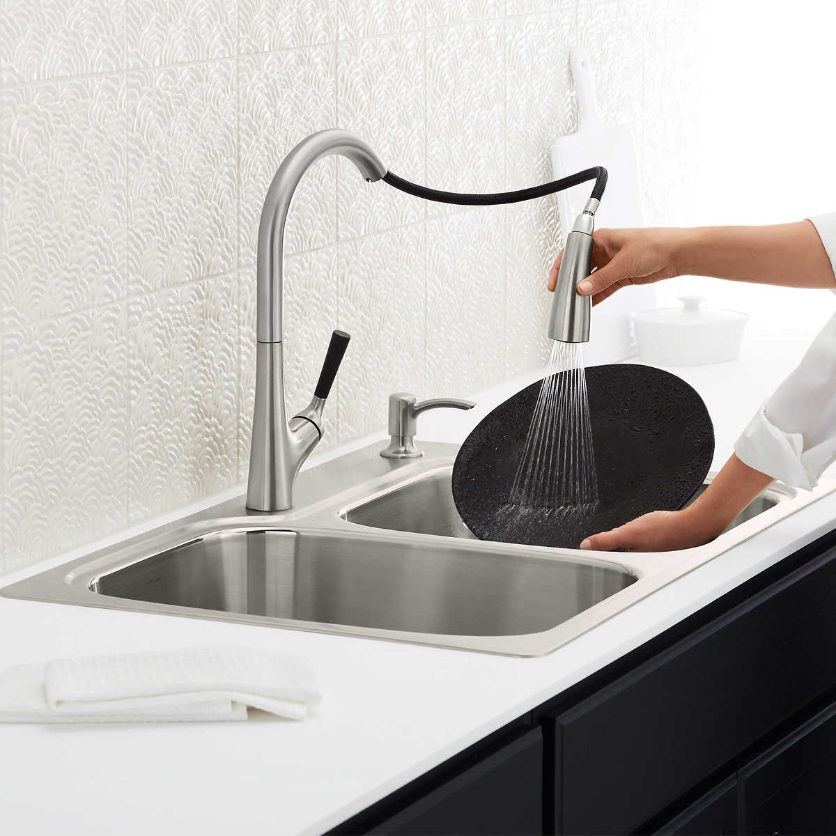 Kohler Stainless Steel Sink And Malleco Pull Down Kitchen Faucet